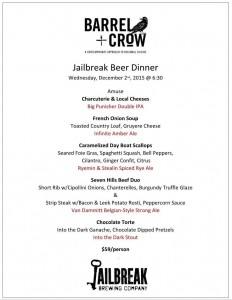 Barrel and Crow Beer Dinner