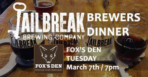 Beer Dinner at Fox's Den
