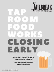 Taproom/FoodWorks Closing Early for Private Event