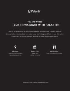 Tech Trivia Night with Palantir