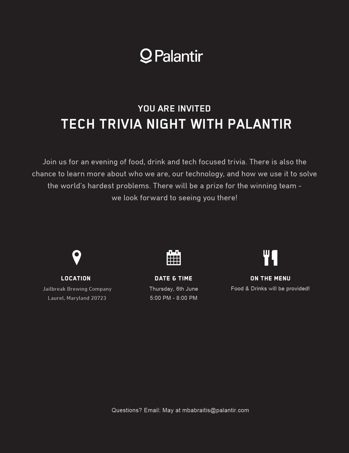 Tech Trivia Night with Palantir - Jailbreak Brewing Company